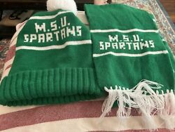 Vintage Michigan State Spartans Sock Hat And Scarf Combo Frat Big 10 Msu 70s 80s