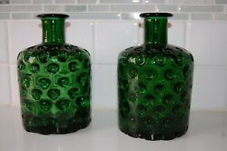 Vintage Rare Beautiful Emerald Green Art Glass Two Bottle With Dimples