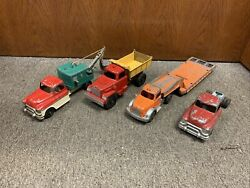 Vintage 1950and039s Metal Hubley Kiddie Toy Truck Lot 492 494 506 801and 494 Chassis