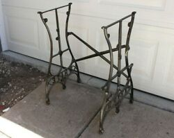 Antique White Usa Cast Iron Sewing Base/legs Pair Table