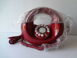 Vintage Donut Phone Red 1970and039s Era Handset And Base Cord Clean Original Wrap New