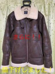 Urban Outfitters B-3 Mouton Leather Flight Jacket Coat Brown Men's S From Japan