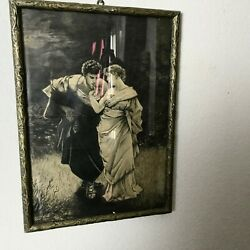 Antique Drawing Graphite Couple Signed A. Jose Framed 16 1/2x11 13/16in