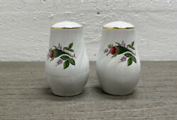 Vtg Lynns Fine China Victorian Rose Salt And Pepper Shakers Gold Trim Clean