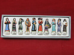 VINTAGE MINH LONG VIETNAM COLLECTION ETHNIC PORCELAIN FIGURINES WITH BOX