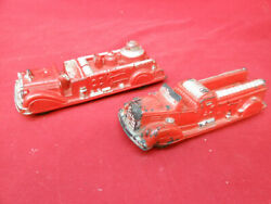 2 Vintage 1940andrsquos Auburn Rubber Corp Toy 8andrdquo Fire Truck Lot Firefighters Nice Set