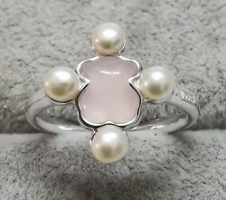 Tous 815435540 Silver Color Power Ring With Quartz And Pearl Size 6