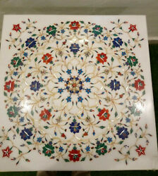 30and039and039 White Marble Center Coffee Table Top Decor Semi Precious Inlay Antique K1
