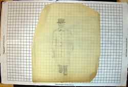 Old The Unit Warder Pencil Sketch Gentleman Hat Button Greatcoat