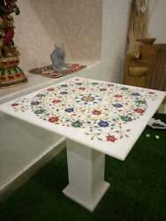 30 White Marble Center Coffee Table Top Decor Room Inlay Antique With Stand
