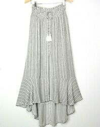 New American Eagle Outfitters Striped Asymmetric Hi-low Ruffle Midi Skirt Large