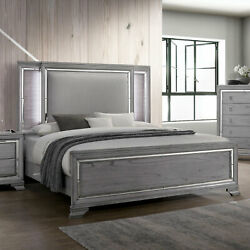 Light Gray Modern Bedroom Furniture Queen Size Bed Padded Hb W Led Solid Wood