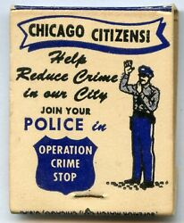 Vintage Chicago Police Department Cpd Matchbook Apache Motorcycle Club - Jl358