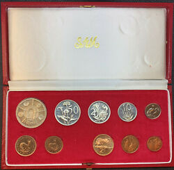 South Africa 1974 10 Coin Proof Set Gold And Silver Rand Mint Box 0.352 Oz