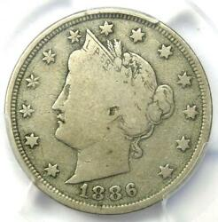 1886 Liberty Nickel 5c - Pcgs Vg10 - Rare Key Date Certified Coin