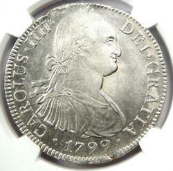 1799-mo Mexico Charles Iv 8 Reales Coin 8r - Certified Ngc Au58 - Rare