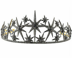 8.50ct Rose Cut Diamond Silver Vintage Reproduction Party Wear Tiara Crown I281
