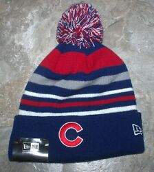 Chicago Cubs Winter Knit Hat New Era Stacker Pom Cap Embroidered New