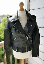 Brand New With Tags Bolongaro Trevour Genuine Leather Biker Style Jacket Rrp...