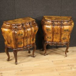 Pair Of Venetian Night Stands Bedside Tables Furniture Burl Wood Antique Style