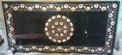 4'x2.5' Black Marble Coffee Table Top Inlay Handicraft Work For Home Furniture