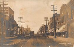 Mn 1900's Rare Real Photo Trolley On St. Germain Street In St. Cloud, Minnesota