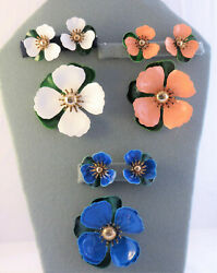 Sarah Cov 3 Sets Tahitian Flowers Brooch And Clip Earrings Blue White And Peach