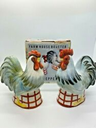 Farm House Rooster Salt And Pepper Shaker Set New Old Stock In Box