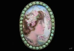 Finely Made Antique Portrait On Porcelain W/ Real Turquoise Stones