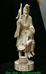 18rare China Old Cattle Bull Master Hand Carve Old Man Fishing Fisherman Statue