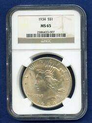 1934 P Ngc Ms65 Peace Silver Dollar 1 Us Mint Rare Gem 1934-p Ms-65 Pq Coin