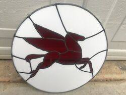 Rare Mobil Gas Stained Glass Pegasus Wall Sign Wall Art