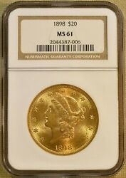 1898 Ngc Ms61 20 Liberty Gold Double Eagle - Better Date
