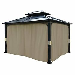 Set Of 4 Gazebo Universal Replacement Curtain Side Wall 10x12 Ft4 Pack Beige