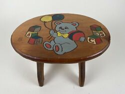 Vintage Wooden Hand Painted Childs Step Stool Bench Blue Bear Abcs Blocks