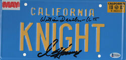 William Daniels D Hasselhoff Autograph Knight Rider Signed License Plate Bas 4