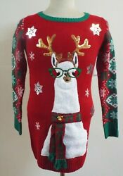 Itand039s Our Time Womenand039s Ugly Christmas Sweater Red Llama Scarf Bells Size M