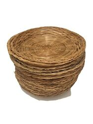 Vintage Wicker Rattan Round Picnic Paper Plate Holders Natural Color Set Of 14