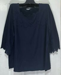 J Jill Women Size 2x Pima Cotton Top Lace Eyelets Square Neck/bell Sleeves New