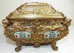 Fine French Gold Gilded Figural Jewelry Box Casket Champleve'