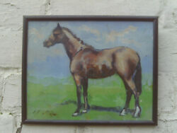 Vintage Glazed Framed 1970s/80s Impressionist Style Oil Painting Of A Horse