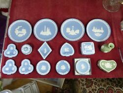 4 Wedgwood Jasperware Christmas Plates 8 Dishes 3 Boxes And A Vase. All In Price