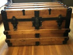 Vintage Steamer Trunk-weathered Pine, Lined, Functional Hinge, Latches