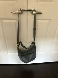 The Sak pre owned Gray leather cross body bucket purse excellent condition $34.95