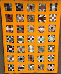 Cheddar Pa C 1880s Hole In Barn Door Quilt  Antique Early Browns
