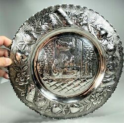 14 Sterling Silver Repousse Judaica Figural Dinner Scene Passover Seder Plate