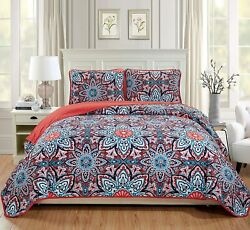 Pink Red Blue Floral Medallion 3 Pc Quilt Set Full Queen Cal King Size Bedspread