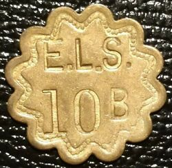 E. L. S. Ezra Lee Stewart 10b Pickers Check Severn Maryland Coin Medal Token Md