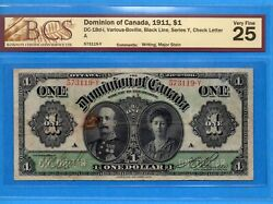 1 1911 Dominion Of Canada Note Series Y Dc-18d-i - Bcs Vf-25