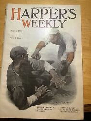 1913 Harpers Weekly Great Color Baseball Cover ⚾️ Full Page Pierce Arrow Ad